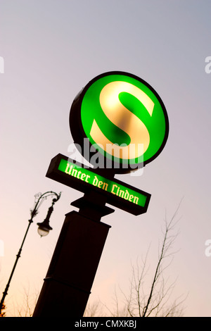 Berlin S-Bahn sign, Unter den Linden, Berlin - Stock Photo