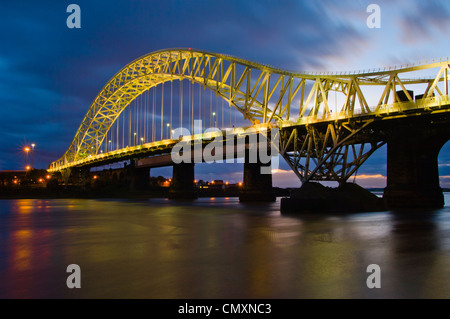Silver Jubilee Bridge over River Mersey between Runcorn and Widnes, usually called Runcorn Bridge or just The Bridge - Stock Photo