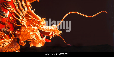 Dragon, Chinese Dragon on floating boat in Hongkong, Aberen Harbour - Stock Photo