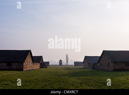 Living quarters at the Auschwitz II, Birkenau concentration camp, Poland - Stock Photo