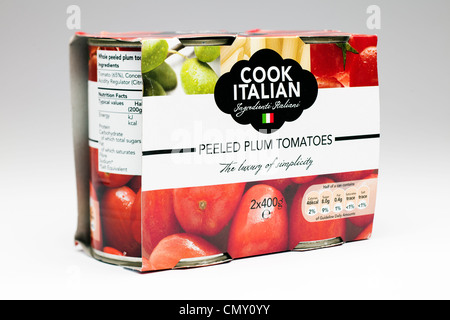 Two pack of Cook Italian Peeled Plum Tomatoes - Stock Photo