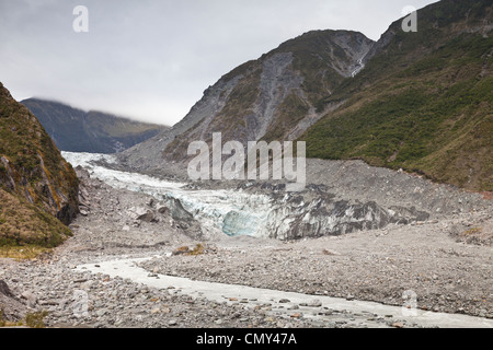 Terminal face and moraine of Fox Glacier, West Coast, New Zealand. - Stock Photo