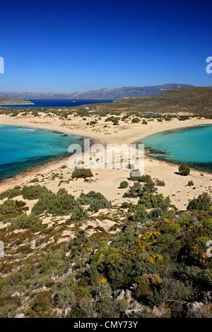 The famous 'double' beach known as 'Simos' in Elafonisos island, Lakonia, Peloponnese, Greece. - Stock Photo