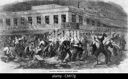 Riots at New York City, Sacking Brooks's Clothing Store, 1863 draft riots - Stock Photo