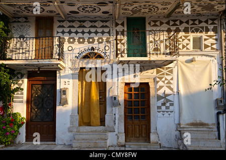 Xysta decorations on the houses of Pygri, Mastic Village of southern Chios Island, Greece - Stock Photo