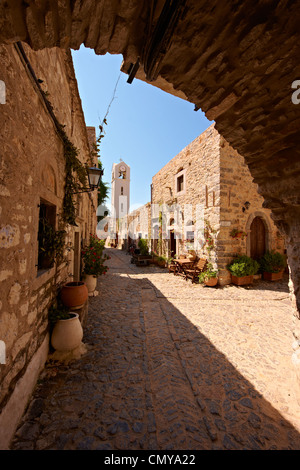 Medieval streets of the Genoese mastic fortified village of Mesta, Mastichochoria area of Chios Island, Greece. - Stock Photo