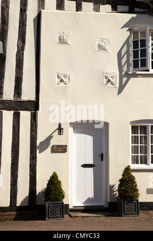Wool Cottage, situated on the end of Blaize House. Medieval houses in Lavenham, Suffolk - Stock Photo