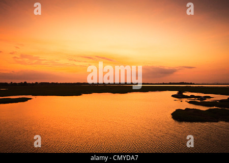 Arugam Lagoon at sunset, a good wildlife area, including elephant & crocodile; Pottuvil, Arugam Bay, Eastern Province, - Stock Photo