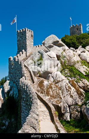 The inner walls on the northern face of the Castle of the Moors, Sintra, Portugal - Stock Photo