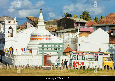 Shri Sudarmalaya Buddhist Temple inside the old Dutch Fort, well known for it's colonial architecture; Galle, Sri - Stock Photo