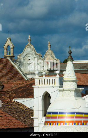 Shri Sudarmalaya Buddhist Temple and the Dutch Reformed Church inside the old colonial Dutch Fort; Galle, Sri Lanka, - Stock Photo