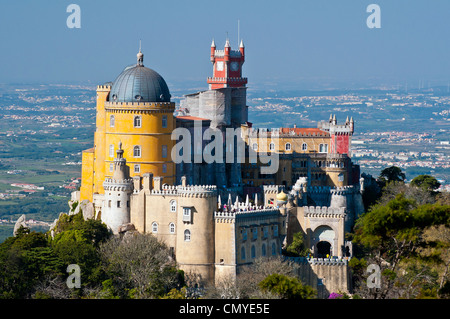 Panoramic view over the Pena National Palace, Sintra, Portugal - Stock Photo