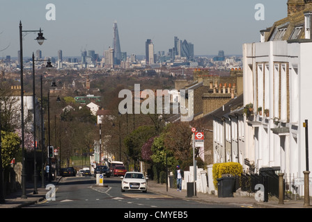 London Skyline. 2012 from Crystal Palace south London. The Shard building designed by architect Renzo Piano HOMER - Stock Photo