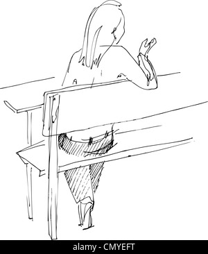 girl from the back on a bench - Stock Photo
