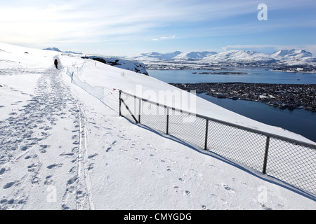 Norway, County of Troms, Tromso, paraglider - Stock Photo