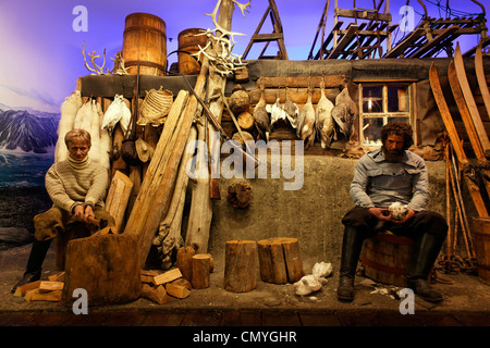 Norway, County of Troms, Tromso, Polar museum, reconstruction of trapper's house - Stock Photo