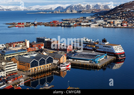 Norway, Lapland, County of Finnmark, Hammerfest, panoramic view from the hill of Salen with the boat Trollfjord - Stock Photo