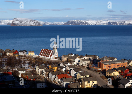 Norway, Lapland, County of Finnmark, Hammerfest and its church, panoramic view from the hill of Salen - Stock Photo