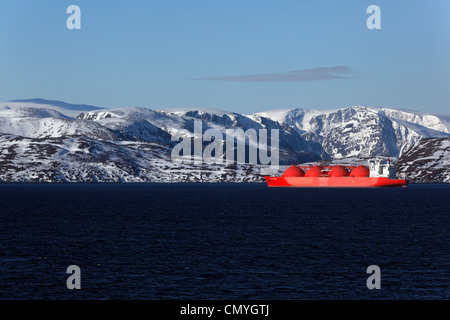 Norway, Lapland, County of Finnmark, Hammerfest, gas carrier at anchor - Stock Photo
