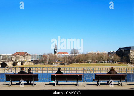 New Town from the Right Bank of the Elbe, Dresden, Germany - Mar 2011 - Stock Photo