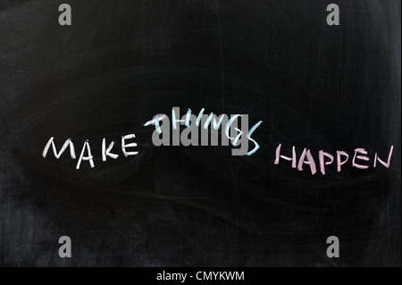 Chalk drawing - Make things happen - Stock Photo