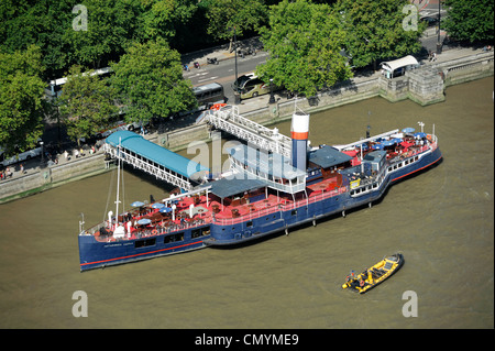 United Kingdom, London, Thames, PS Tattershall Castle boat converted into a Floating Pub and Restaurant - Stock Photo