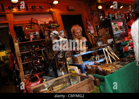 United Kingdom, London, Portobello Road market, shoemaking craft shop - Stock Photo