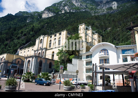 Riva del Garda town in the northern Italy mountains on Garda lake - Stock Photo