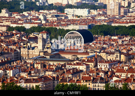 Panoramic view from Viewpoint of Notre Dame de Fourviere hill, Hotel de Ville, Opera, Lyon, Rhone Alps, France - Stock Photo