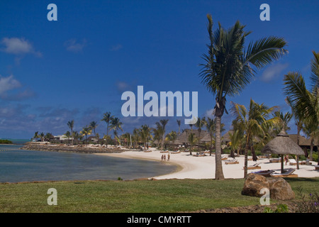 Private beach of Luxery Hotel Four Seasons in Ananhita, Mauritius, Africa - Stock Photo