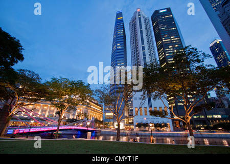Asia singapur skyline panorama, Fullerton Hotel - Stock Photo