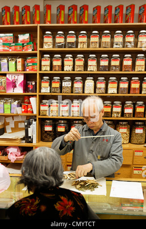 Chinese drugstore in Chinatown, Vancouver City, Canada, North America - Stock Photo