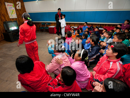 Songdowon International Children in Wonsa, North Korea - Stock Photo