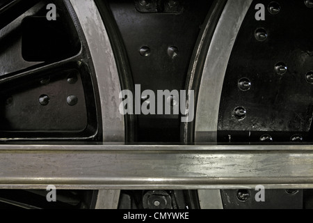 Driving wheels and connecting rod of steam locomotive. - Stock Photo