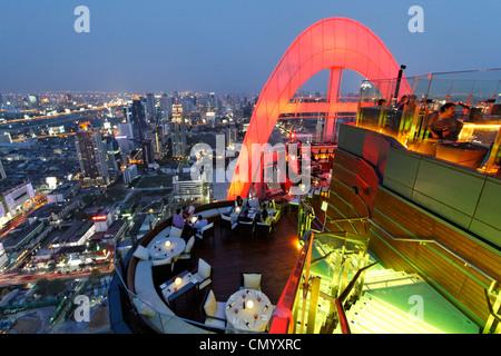Red Sky Bar, 55th flour, Centara Grand Hotel, Central World, Bangkok, Thailand - Stock Photo