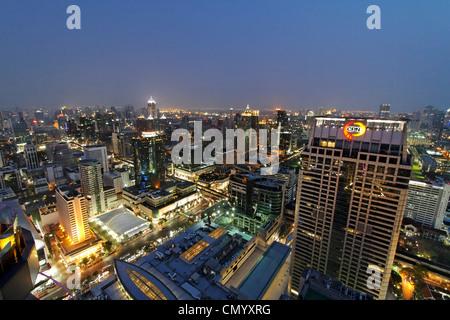 Panoramic view from Red Sky Rooftop Bar, Centara Grands, Bangkok, Thailand - Stock Photo