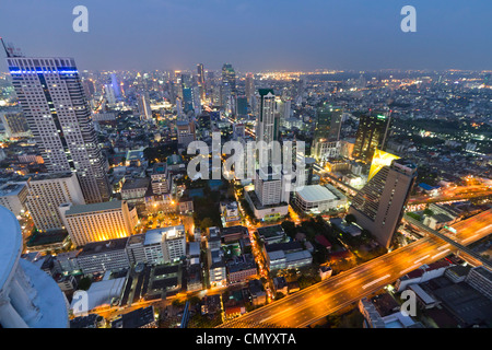 Panoramic view from Scirocco Sky Bar, Lebua State Tower in Bangkok, Thailand - Stock Photo