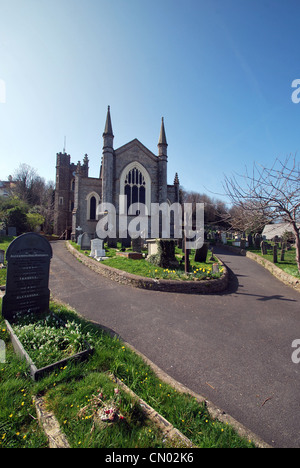 St Mary's Church and graveyard in Appledore North Devon - Stock Photo