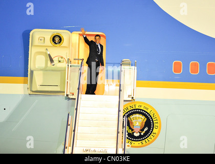 Air Force one taxis down a runway here after landing at Osan Air Base Republic of Korea, March 25, 2012. Osan was - Stock Photo
