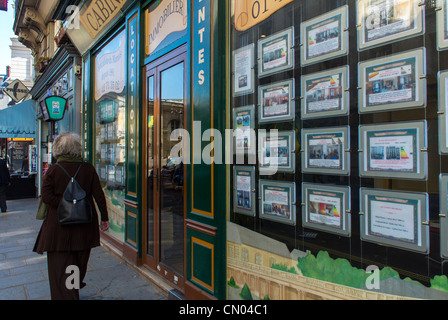 Paris, France, Shop Window with Real Estate Apartments for Sale, Estate office in the Marais District - Stock Photo