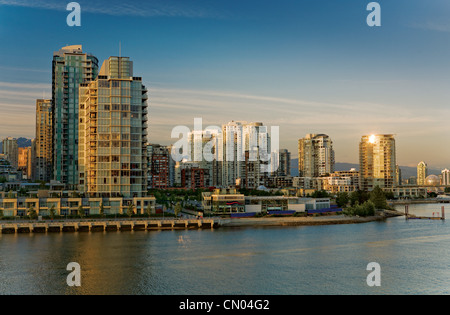 Downtown looking North over False Creek, Vancouver, British Columbia - Stock Photo