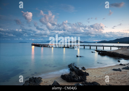 Jetty at Palm Cove at dusk, near Cairns, Queensland, Australia - Stock Photo