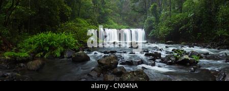 Nandroya Falls in Wooroonooran National Park.  Atherton Tablelands, Innisfail, Queensland, Australia - Stock Photo