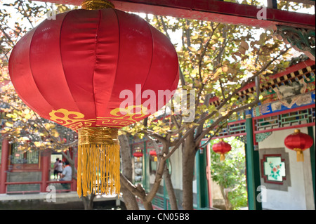 Red lantern on a Chinese garden - Stock Photo