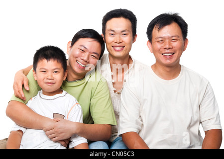 Asian men, different generations in white background - Stock Photo