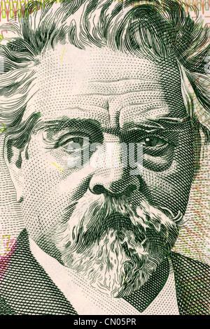 Juan Zorrilla de San Martin (1855-1931) on 20 Pesos Uruguayos 2008 Banknote from Uruguay. - Stock Photo