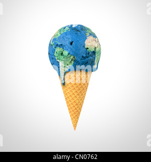3D render of an ice cream cone with the World map pattern