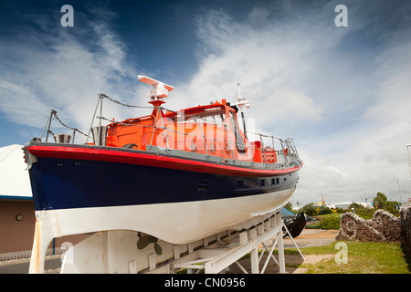UK, Cumbria, Barrow in Furness, last wooden lifeboat outside Dock Museum - Stock Photo