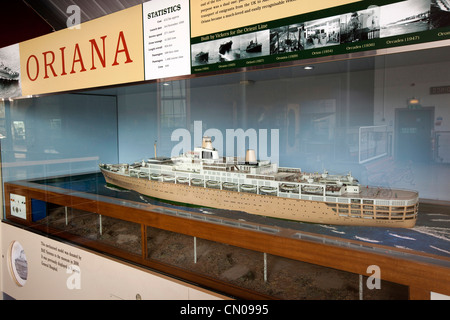 UK, Cumbria, Barrow in Furness, Dock Museum, model 1959 Orient Line ship Oriana - Stock Photo