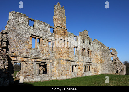 The Remains of the Monks Day Room and Dormitory Area of Egglestone Abbey Near Barnard Castle County Durham UK - Stock Photo